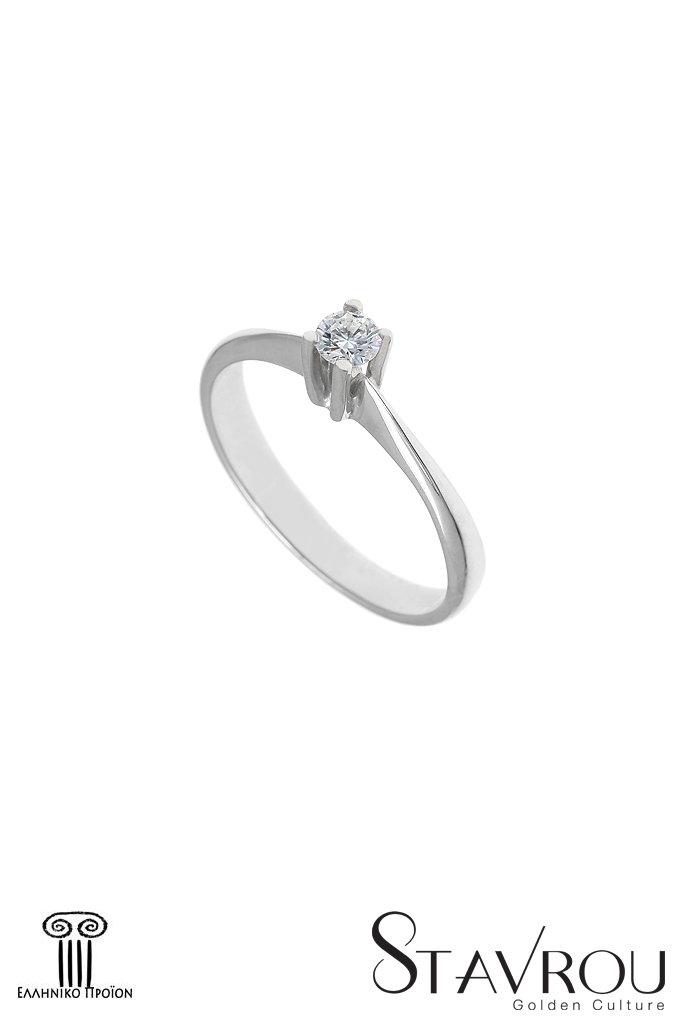 Δαχτυλίδι Γυναικείο   Χρυσό Κ18 μονόπετρο 1DA2894  799d56c72b3